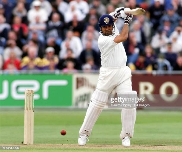 India's Sachin Tendulkar drives a delivery from England's Matthew Hoggard during the second day of the third nPower Test at Headingley, Leeds.