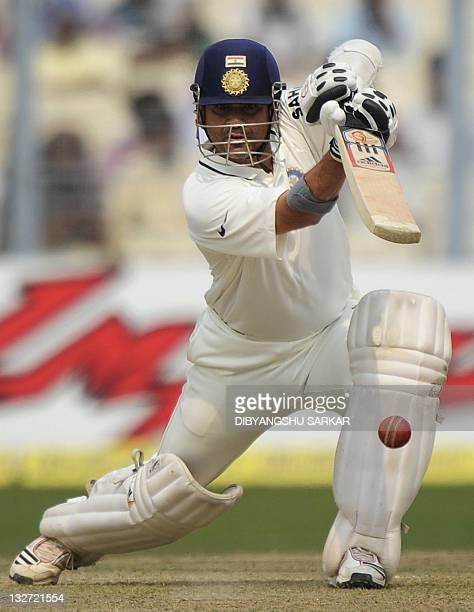 India's Sachin Tendulkar plays a shot during the first day of the second Test cricket match between Indian and West Indies at The Eden Gardens in...