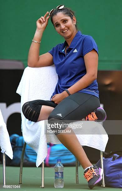 India's Sania Mirza looks on ahead of the match between India's Ankita Raina and Malasysia's Jawairiah Noordin during the Fed Cup AsiaOceana Group II...