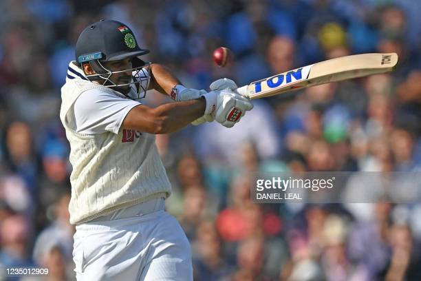 India's Shardul Thakur plays a shot during play on the first day of the fourth cricket Test match between England and India at the Oval cricket...