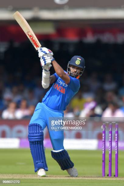 India's Shikhar Dhawan bats during the second One Day International cricket match between England and India at Lord's Cricket Ground in London on...