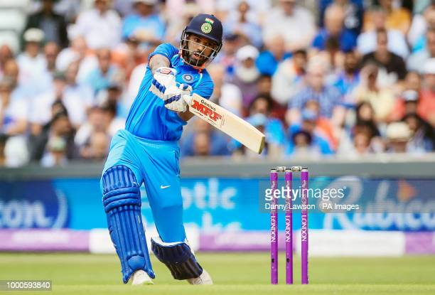 India's Shikhar Dhawan in action during the third Royal London One Day international at Emerald Headingley Leeds