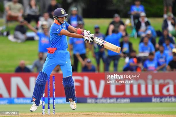 India's Shubman Gill bats during the U19 cricket World Cup final match between India and Australia at Bay Oval in Mount Maunganui on February 3 2018...
