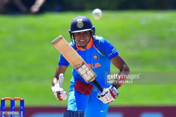 India's Shubman Gill bats during the U19 semifinal cricket World Cup match between India and Pakistan at Hagley Oval in Christchurch on January 30...