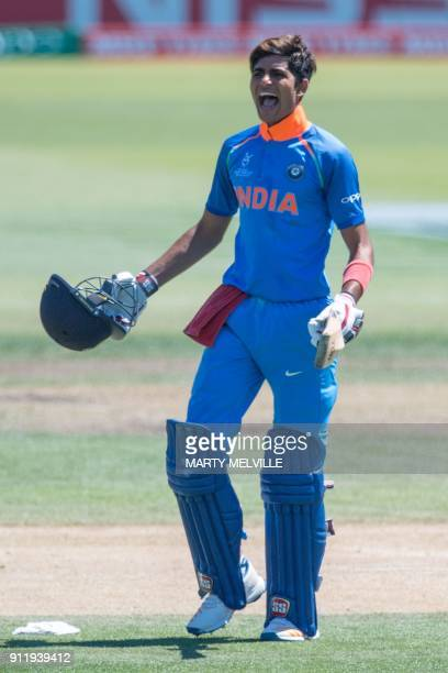 India's Shubman Gill celebrates 100 runs during the U19 semifinal cricket World Cup match between India and Pakistan at Hagley Oval in Christchurch...