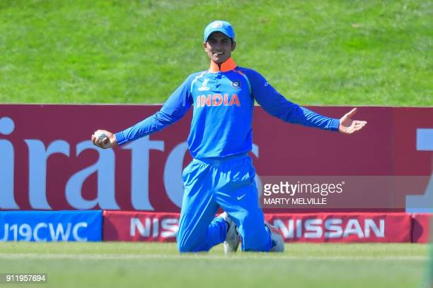 India's Shubman Gill celebrates catching Pakistan's Hassan Khan during the U19 semifinal cricket World Cup match between India and Pakistan at Hagley...