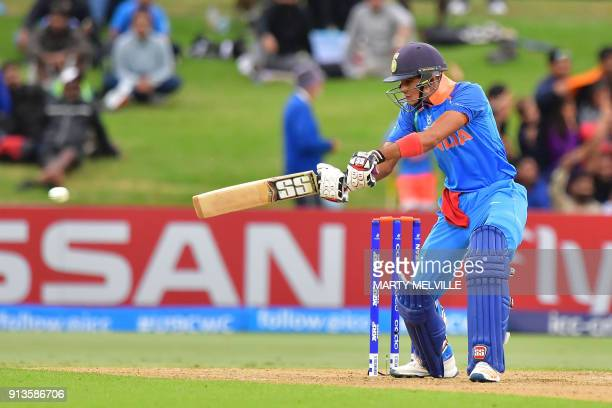 India's Shubman Gill plays a shot during the U19 cricket World Cup final match between India and Australia at Bay Oval in Mount Maunganui on February...