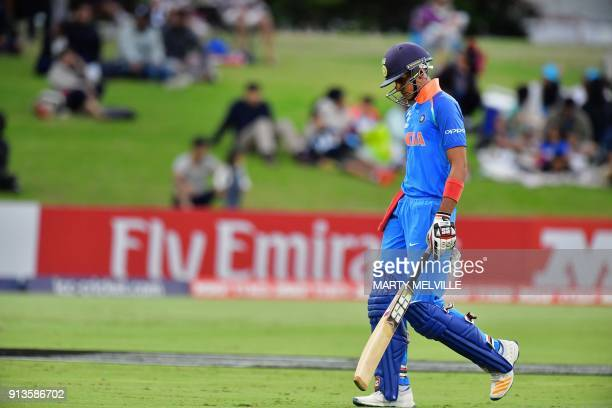 India's Shubman Gill walks off after being stumped during the U19 cricket World Cup final match between India and Australia at Bay Oval in Mount...