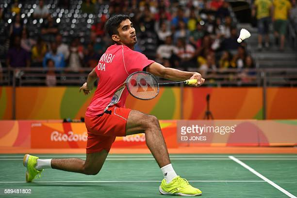 India's Srikanth Kidambi returns to Sweden's Henri Hurskainen during their men's singles qualifying badminton match at the Riocentro stadium in Rio...