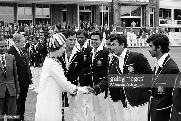 India's Sunil Gavaskar is introduced to HM Queen Elizabeth II by his captain Ajit Wadekar