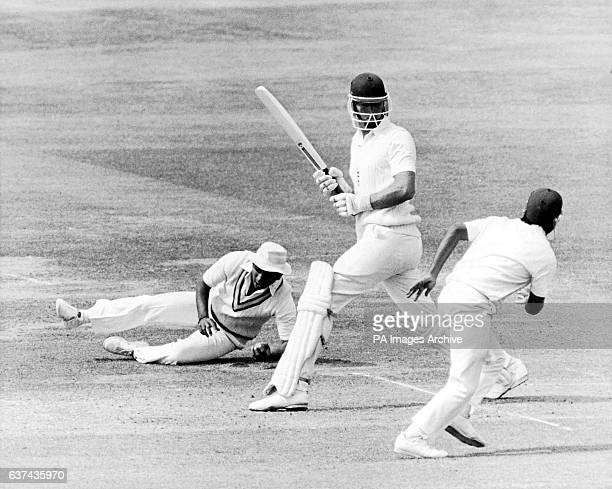 India's Sunil Gavaskar takes a smart catch at silly mid-off to dismiss England debutant Derek Pringle for seven runs