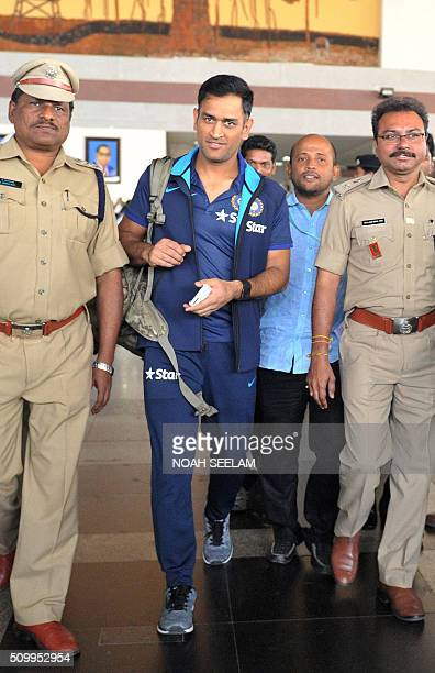 India's T20 cricket captain Mahendra Singh Dhoni arrives at the airport in Visakhapatnam on February 13 2016The third T20 international match between...