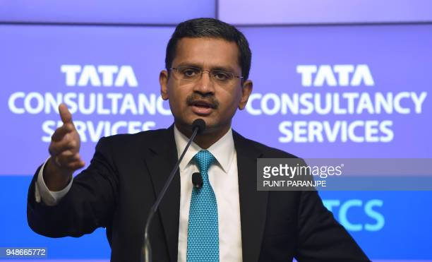 India's Tata Consultancy Services CEO and Managing Director Rajesh Gopinathan speaks during a news conference after the announcement of the financial...