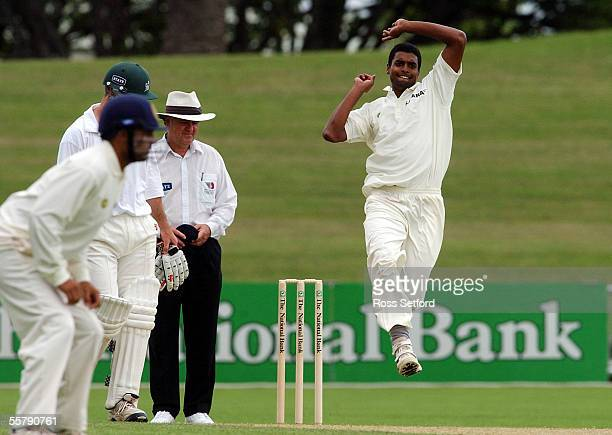 India's Tinu Yohannan bowls against Central Districts on the first day of the three day match at McLean Park Napier Friday