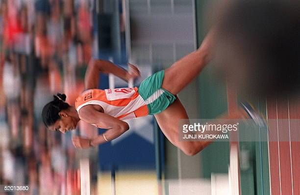 India's track queen PT Usha shown in photo dated 04 October 1986 streaking her way in the women's 400meter fanals to win the gold medal in Seoul