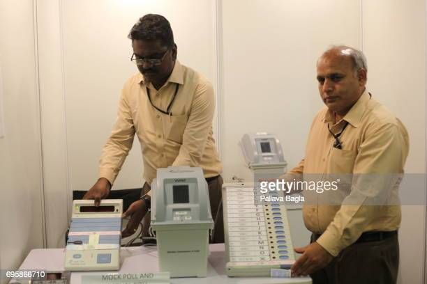 NEW DELHI INDIA MAY 24 India's unique electronic voting machines are placed on display as engineers demonstrate how they are tamper proof on may 24...