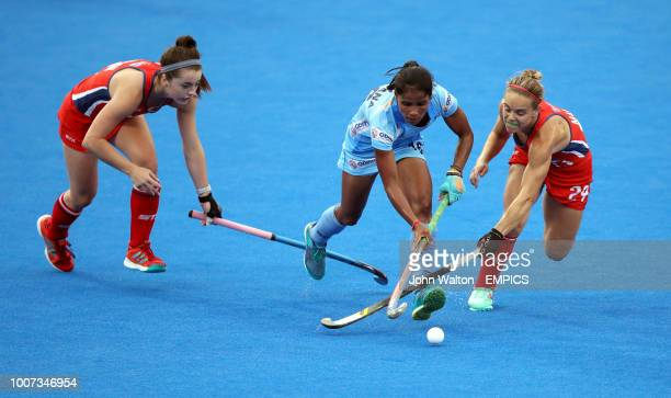 India's Vandana Katariya is tackled by USA's Alyssa Manley right India v USA Women's Hockey World Cup 2018 Pool B Lee Valley Hockey Tennis Centre