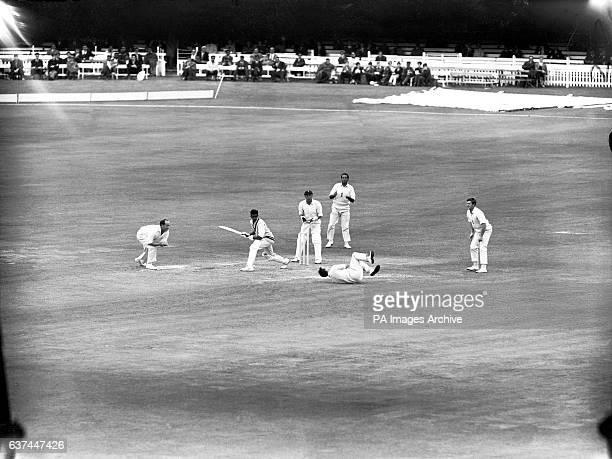 India's Venkataraman Subramanya is smartly caught by England's John Edrich watched by England's Brian Close John Murray Basil D'Oliveira and Dennis...