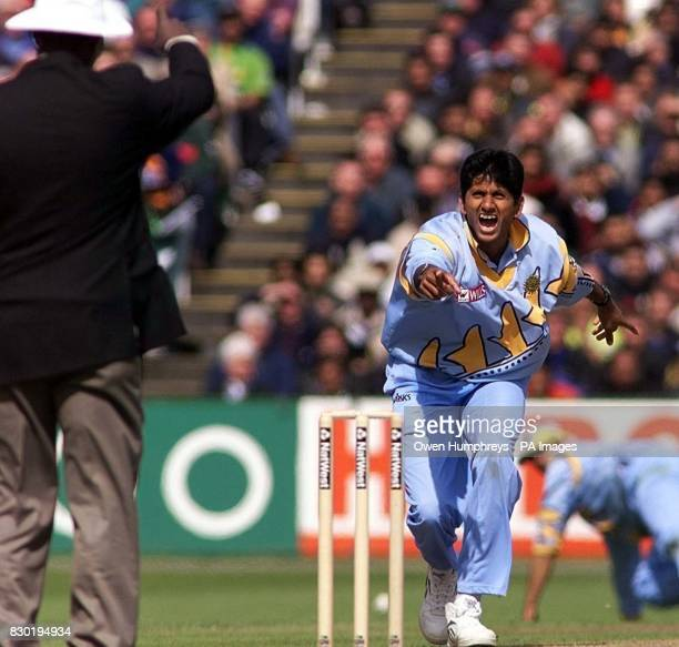 India's Venkatesh Prasad successfully appeals for the wicket of Pakistan's Salim Malik during their Super Six Cricket World Cup match at Old Trafford...