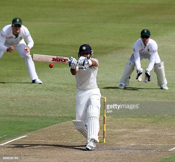 India's Virat Kohl inlays a hook shot during Day 2 of the second Sunfoil Series Cricket Test match between India and South Africa at the SAHARA...