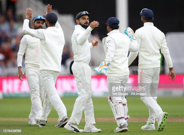 India's Virat Kohli celebrates after England's Adil Rashid was caught out during day two of the Specsavers Third Test match at Trent Bridge Nottingham
