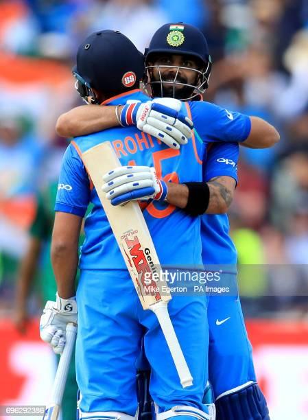 India's Virat Kohli celebrates with Rohit Sharma after the ICC Champions Trophy semifinal match at Edgbaston Birmingham