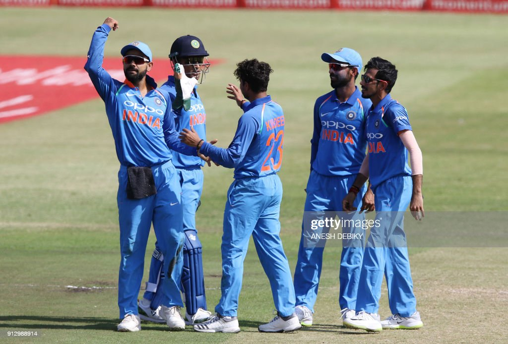 Indias Virat Kohli looks at the crowd as India celebrates South Africa's David Miller's wicket during the first One Day International cricket match between South Africa and India at Kingsmead cricket ground on February 1, 2018 in Durban. /