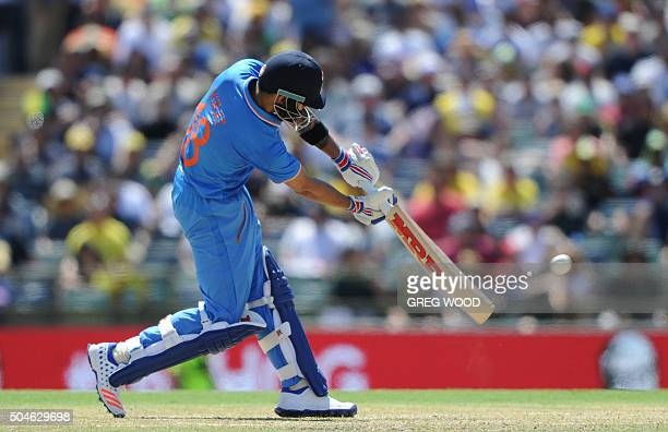 TOPSHOT India's Virat Kohli plays a shot during the oneday international cricket match between India and Australia in Perth on January 12 2016 AFP...