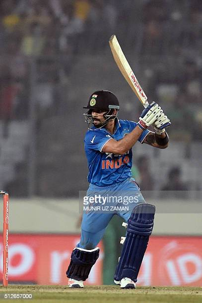 India's Virat Kohli prepares to play a shot during the Asia Cup T20 cricket tournament match between India and Pakistan at the ShereBangla National...