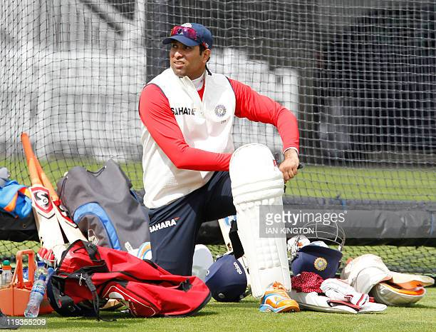 India's VVS Laxman gets ready on July 19, 2011 for a practice session at Lord's Cricket Ground in London. England is due to play India in the first...