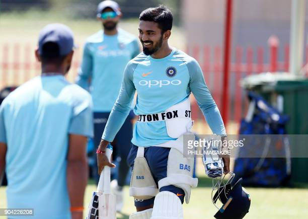 India's wicketkeeper Lokesh Rahul smiles as he takes part in a training session of the Indian national cricket team at Supersport Park cricket ground...