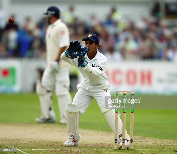 India's young wicket-keeper Parthiv Patel at the age of 17 in action during the third day of the NPower Second Test match between England and India...