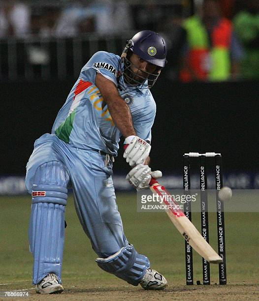 India's Yuvraj Singh plays a shot off the ball of England's Stuart Broad at Kingsmead Stadium in Durban 19 September 2007 during their Twenty20...