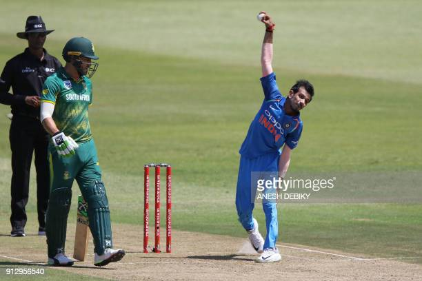 India's Yuzvendra Chahal delivers a ball during the first One Day International cricket match between South Africa and India at Kingsmead cricket...