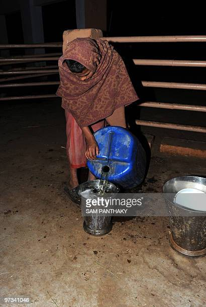 IndiasciencemedicineresearchcowsFEATURE by Rupam Jain Nair This photo taken on February 27 2010 shows a farm worker pouring cow urine into a bucket...