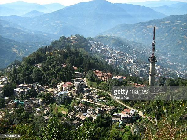 India,Sikkim-Gangtok City,Aerial view