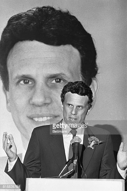 Indicted junk bond king Michael R Milken who faces trial on fraud and racketeering charges speaks at a Mexican and American Foundation's California...