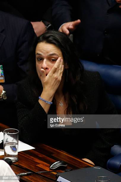 Indictment lawyer Janaina Paschoal weeps after the impeachment vote of President Dilma Rousseff August 31 2016 in Brasilia Brazil The suspended...