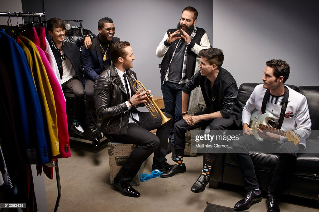 Indie band, Capital Cities and hockey player Dustin Penner are photographed for ESPN Magazine, The Music Issue on December 30, 2013 in Los Angeles, California.