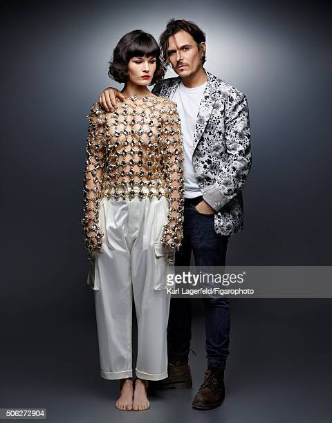 Indie pop duo The Do are photographed for Madame Figaro on November 18 2015 in Paris France Olivia shirt and pants Dan Jacket tshirt and jeans...