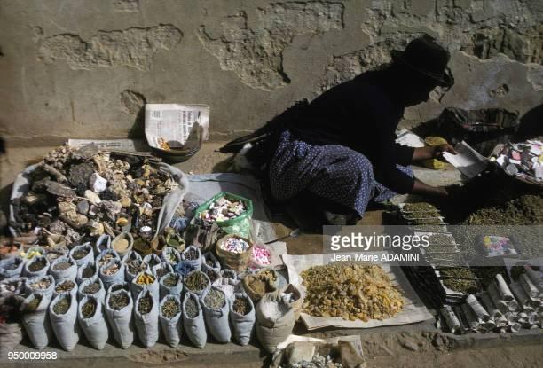 Indienne vendant des produits de sorcellerie teintures de tissus médicaments à base de plantes Bolivie