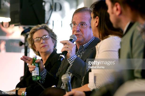 IndieWIRE Anne Thompson Deadline's Peter Hammond and Founder/Editor AwardsDaily Sasha Stone speak onstage during Chrysler's Oscar Predictions Hosted...
