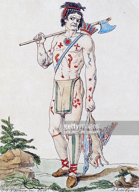 Indigenous Acadian colour engraving by Laroque from Encyclopedia of voyages by Jacques Grasset de SaintSauveur 17951796 Canada 18th century Paris...
