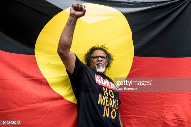 Indigenous activist Adrian Burragubba poses for a portrait after an Invasion Day rally on January 26 2018 in Sydney Australia Australia Day formerly...
