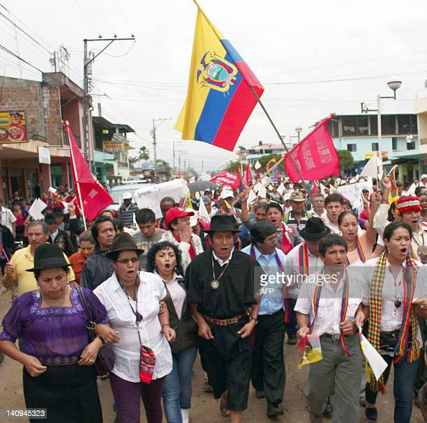 Indigenous activists start a march against the signing by the government of mining contracts in Guisimi Zamora province Ecuador on March 8 2012 The...