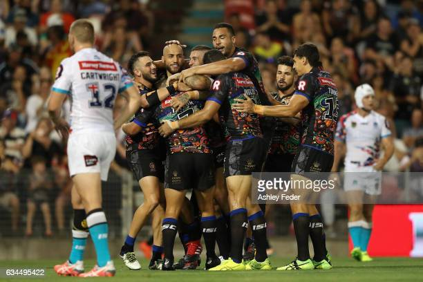 Indigenous All Stars celerbrate a try from Ashley Taylor during the NRL All Stars match between the 2017 Harvey Norman All Stars and the NRL World...
