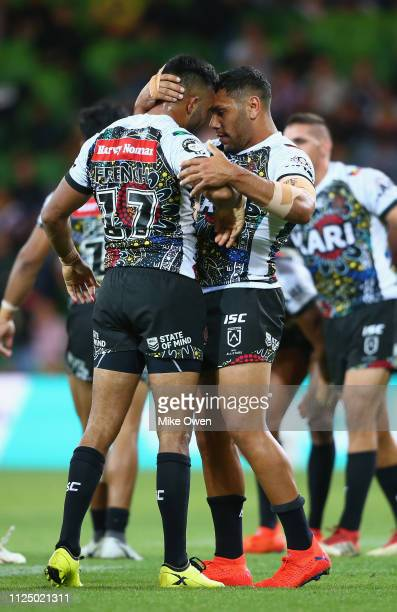 Indigenous All Stars players celebrate after winning the NRL exhibition match between the Indigenous All Stars and the Maori All Stars at AAMI Park...
