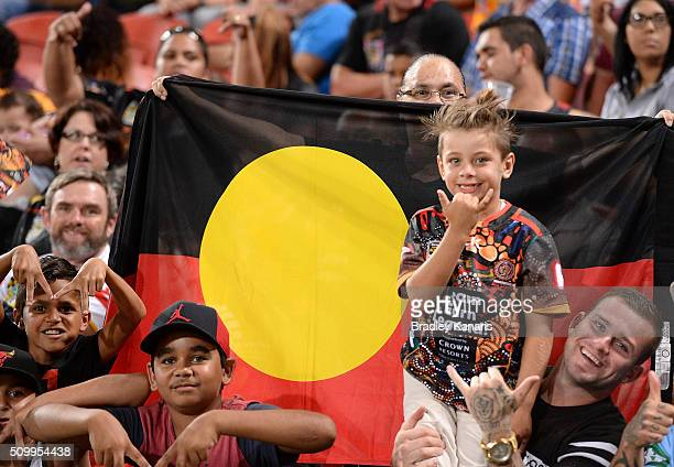 Indigenous AllStars fans show their support during the NRL match between the Indigenous AllStars and the World AllStars at Suncorp Stadium on...