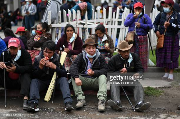 Indigenous are seen during a road blockade demanding the resignation of Guatemalan President Alejandro Giammattei and Guatemala's Attorney General...