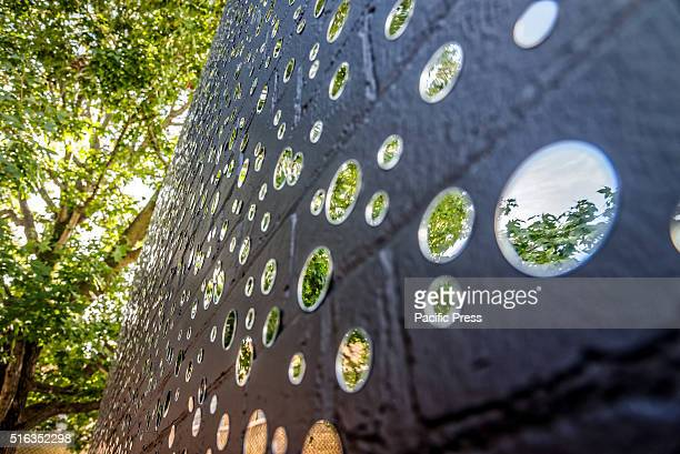 ISLAND SYDNEY NSW AUSTRALIA Indigenous artist Daniel Boyd's artwork Redfern Wall during the media preview for Biennale of Sydney The 20th Biennale of...